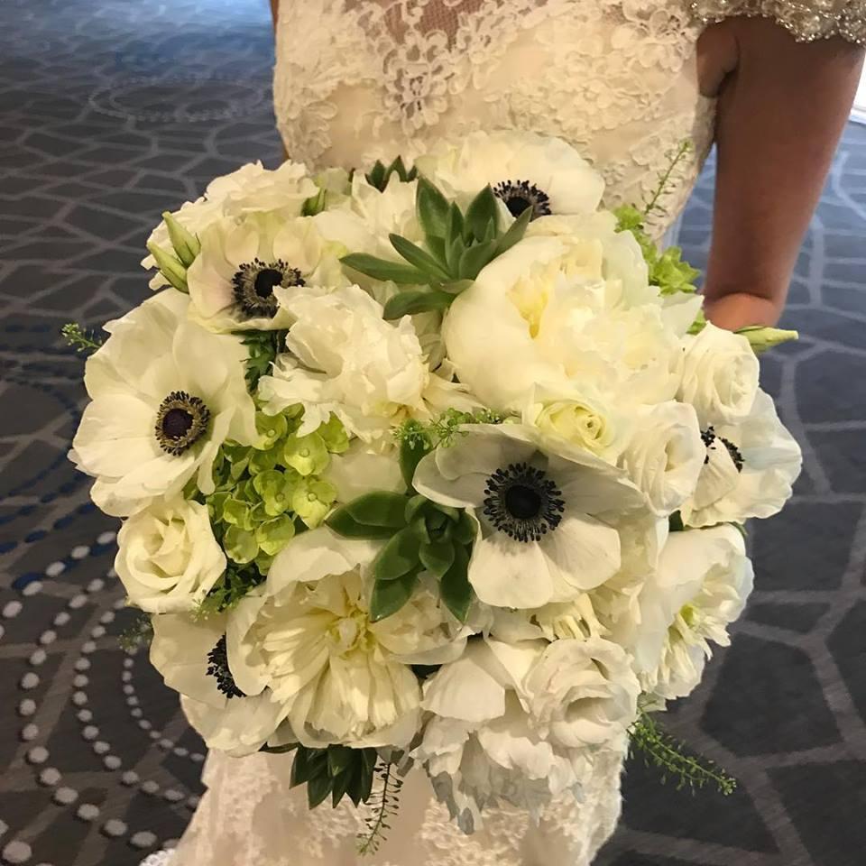 Summer White & Green Floral Wedding Bouquet Boston