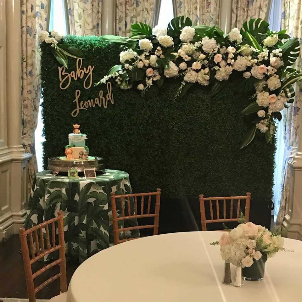 Custom Designed Jungle Themed Baby Shower Floral Backdrop