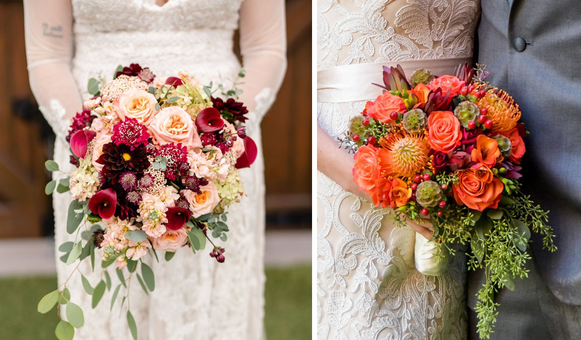 photographs of Fall bridal bouquets in Boston Magazine