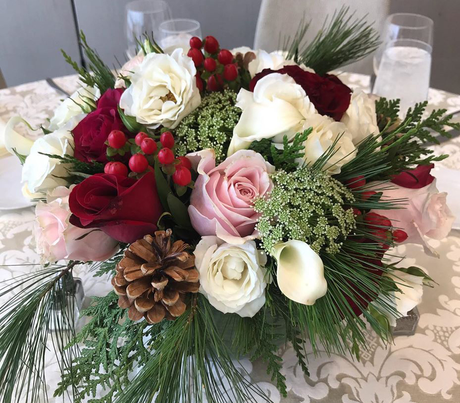 Photograph of custom Christmas floral design for a wedding