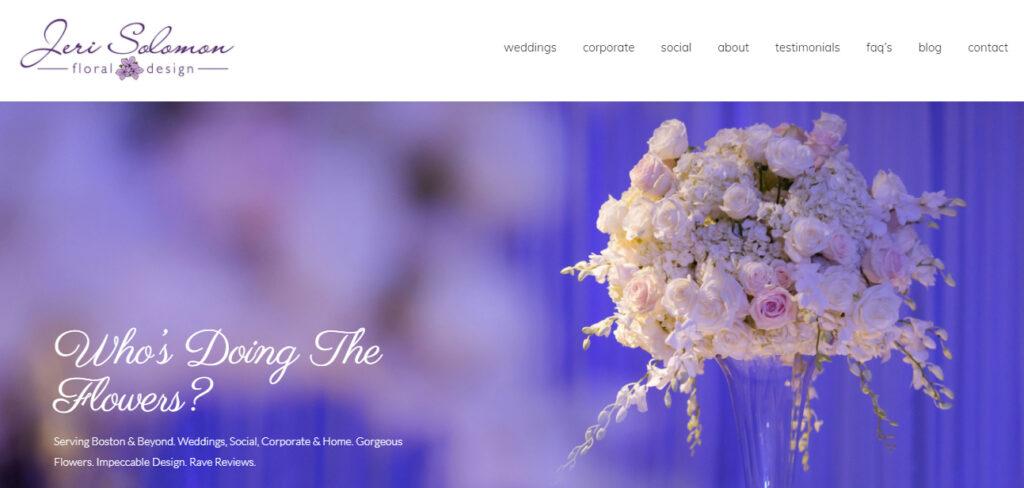 Photograph of front page of Jeri Solomon Floral Design